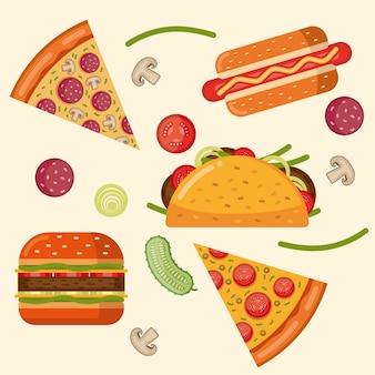 Ilustração colorida de comida isolada em estilo simples