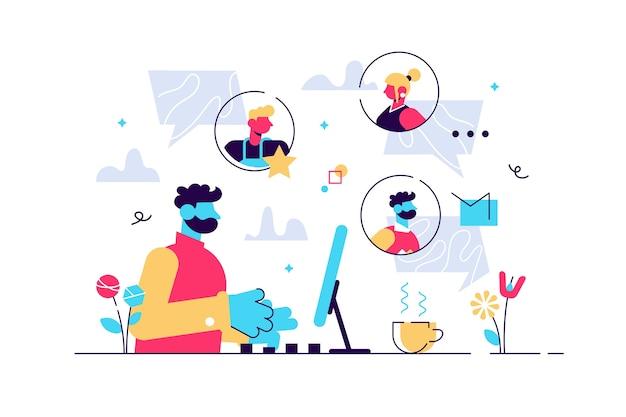 Ilustração colorida de comunicação através da internet
