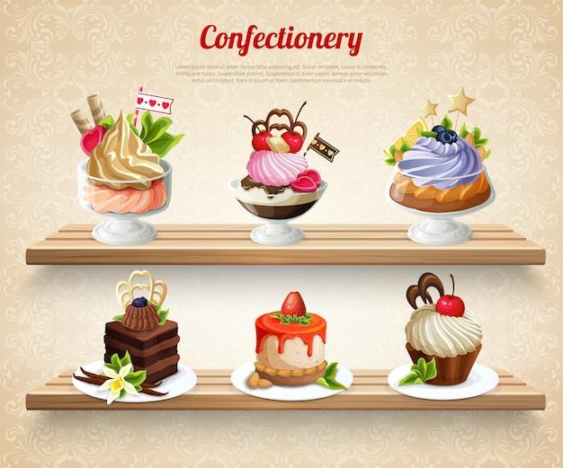 Ilustração colorida de confeitaria