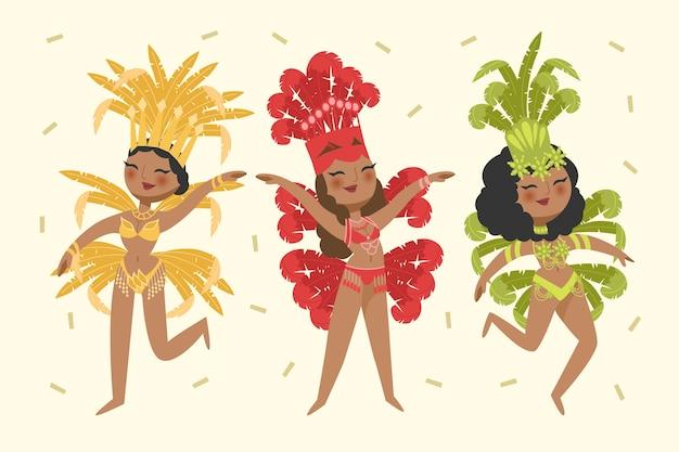Ilustração colorida de dançarinos de carnaval