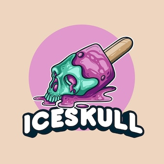 Ilustração colorida de derretimento do crânio de gelo
