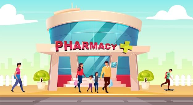 Ilustração colorida de design plano de vitrine de farmácia