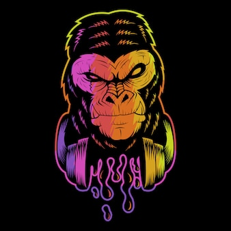 Ilustração colorida de gorila fone de ouvido
