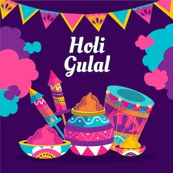 Ilustração colorida de holi gulal desenhada à mão