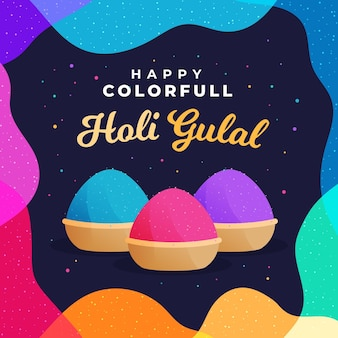 Ilustração colorida de holi gulal