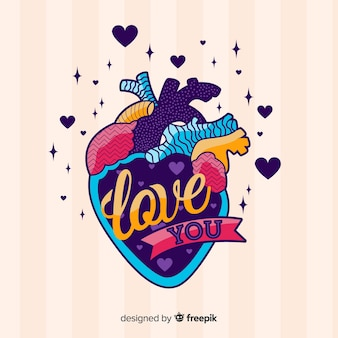 Ilustração colorida de mágoa com mensagem de amor