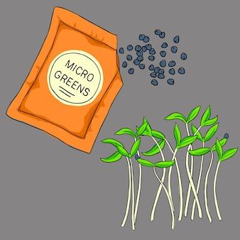 Ilustração colorida de microgreens
