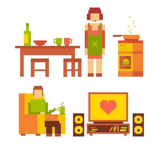 Ilustração colorida de mulher e homem casal família feliz no interior em fundo branco. família típica de pessoas juntos. pixel art retro da vida familiar moderna