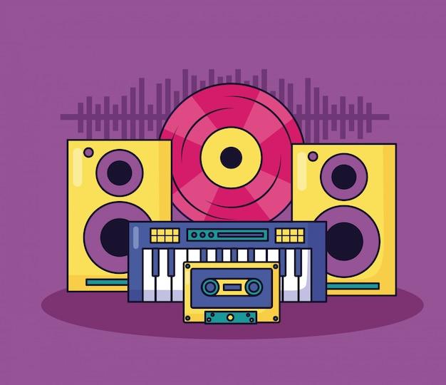 Ilustração colorida de música