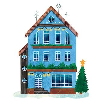 Ilustração colorida de natal de uma casa com fachada azul estampa escandinava