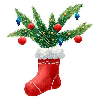 Ilustração colorida de natal de uma meia vermelha com uma árvore de natal com estampa de bolas e lantejoulas