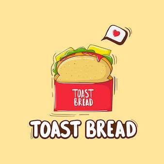 Ilustração colorida de pão torrado desenhada à mão