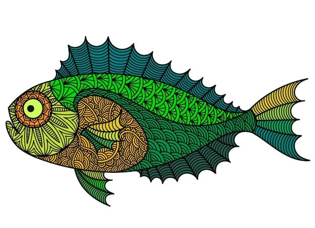 Ilustração colorida de peixes decorativos para tatuagem, gráfico de camiseta
