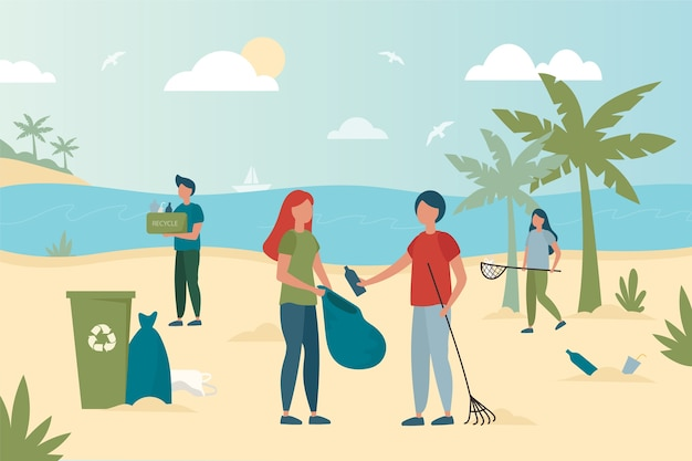 Ilustração colorida de pessoas limpando a praia