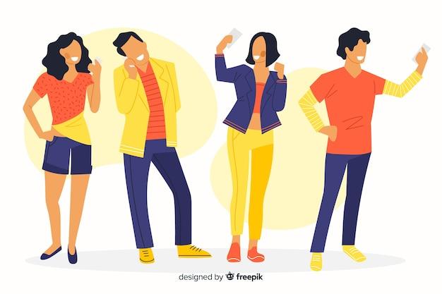 Ilustração colorida de pessoas olhando para seus telefones