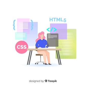 Ilustração colorida de programador feminino fazendo seu trabalho