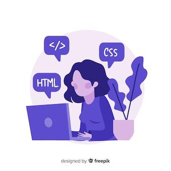Ilustração colorida de programador feminino trabalhando