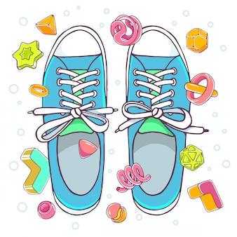 Ilustração colorida de sapatos desportivos azuis sobre fundo branco, com elementos abstratos.