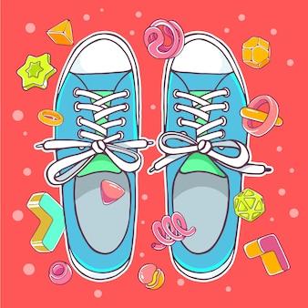 Ilustração colorida de sapatos desportivos azuis sobre fundo vermelho com elementos abstratos.