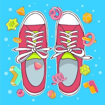 Ilustração colorida de sapatos desportivos vermelhos sobre fundo azul com elementos abstratos.
