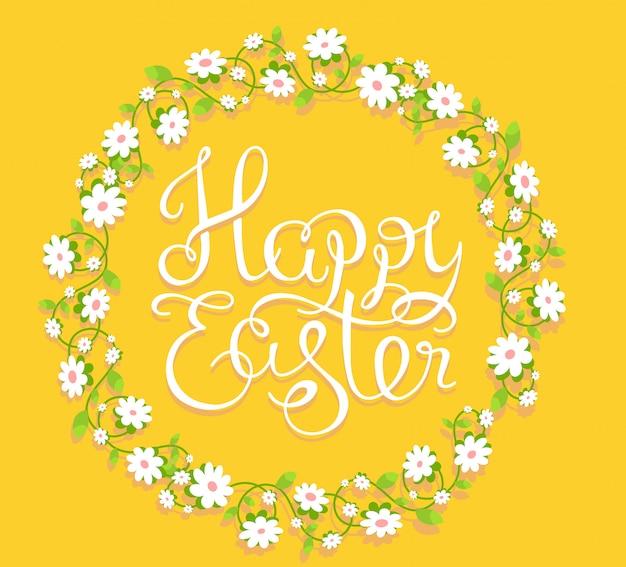 Ilustração colorida de saudações de feliz páscoa com texto no círculo de flores sobre fundo amarelo.