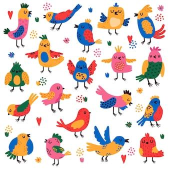 Ilustração colorida de seleção de pássaros