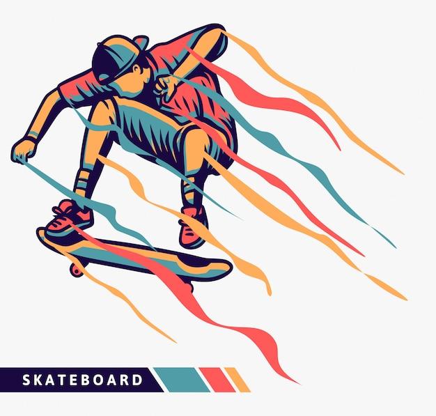 Ilustração colorida de skatista com efeito de movimento
