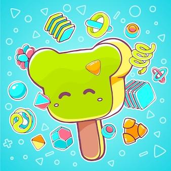 Ilustração colorida de sorvete verde urso sobre fundo azul com elementos abstratos.