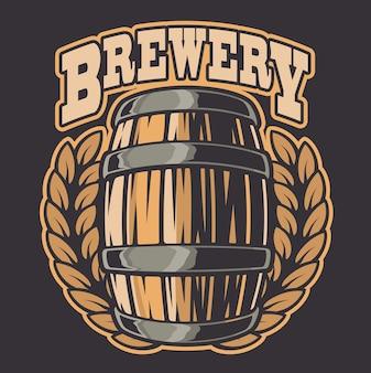 Ilustração colorida de um barril de cerveja. todos os elementos da ilustração e do texto estão em grupos separados.