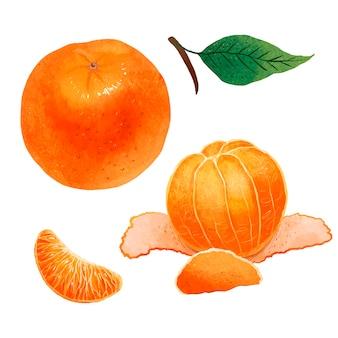 Ilustração colorida de uma deliciosa tangerina laranja com clima de ano novo
