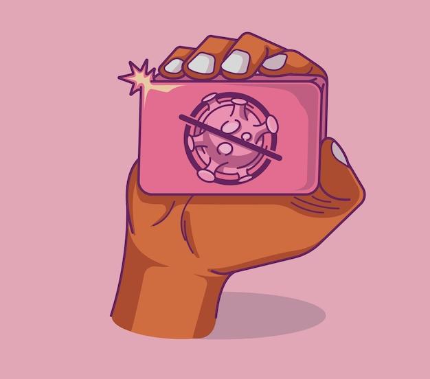 Ilustração colorida de uma mão com sabonete em estilo de linha de arte. ideal para web, digital e muitos outros usos