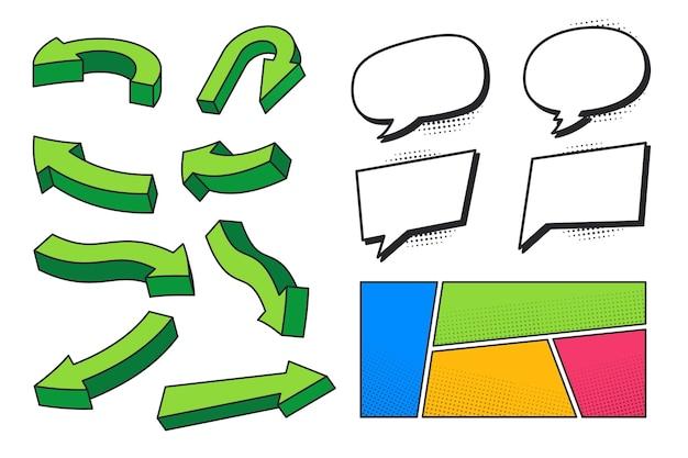 Ilustração colorida de vários elementos de apresentação