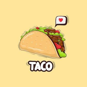 Ilustração colorida desenhada à mão para taco