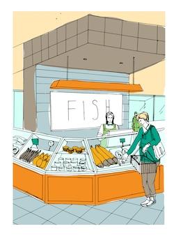 Ilustração colorida desenhada mão do departamento de peixes. interior da loja com os compradores.
