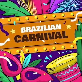 Ilustração colorida do carnaval brasileiro