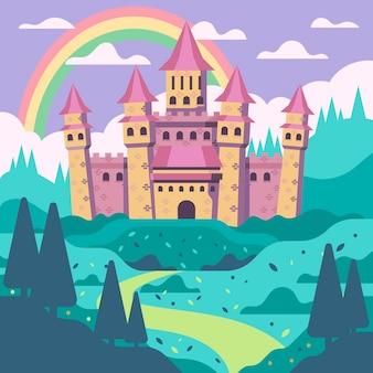 Ilustração colorida do castelo de conto de fadas