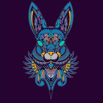Ilustração colorida do coelho, zentangle da mandala e projeto do tshirt
