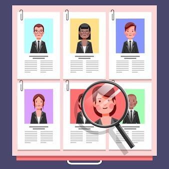Ilustração colorida do conceito de recrutamento