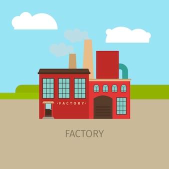 Ilustração colorida do edifício da fábrica