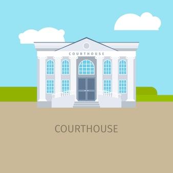 Ilustração colorida do edifício do tribunal