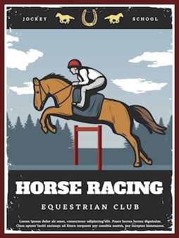 Ilustração colorida do esporte equestre
