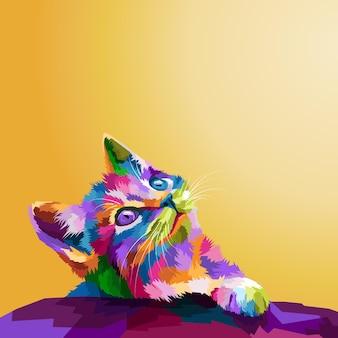 Ilustração colorida do estilo pop art do gato