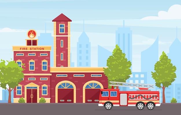Ilustração colorida do exterior do edifício do corpo de bombeiros. grande veículo de emergência vermelho