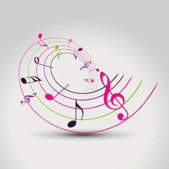 Ilustração colorida do fundo da nota da música colorida