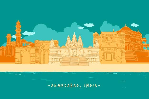 Ilustração colorida do horizonte de ahmedabad