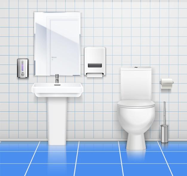 Ilustração colorida do interior do banheiro público