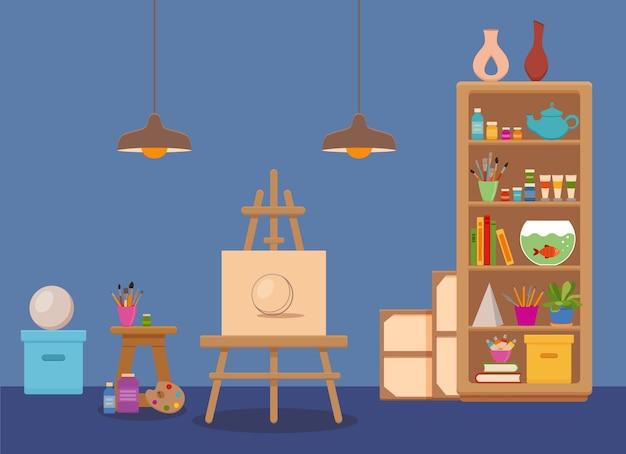 Ilustração colorida do interior do estúdio de arte. sala da oficina do pintor artista com ferramentas: tela, cavalete com esboço de esfera, tintas, paleta, pincéis, abajur, prateleiras com ferramentas, livros, lápis, plantas