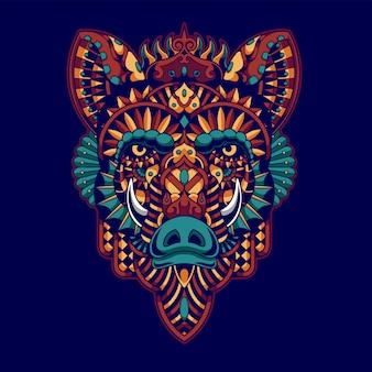 Ilustração colorida do javali, zentangle da mandala e projeto do tshirt