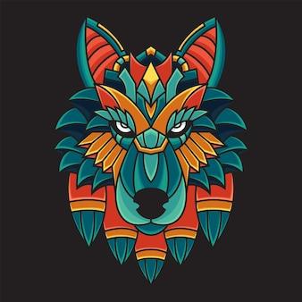Ilustração colorida do lobo do doodle do ornamento