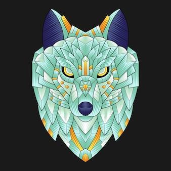 Ilustração colorida do lobo do ornamento